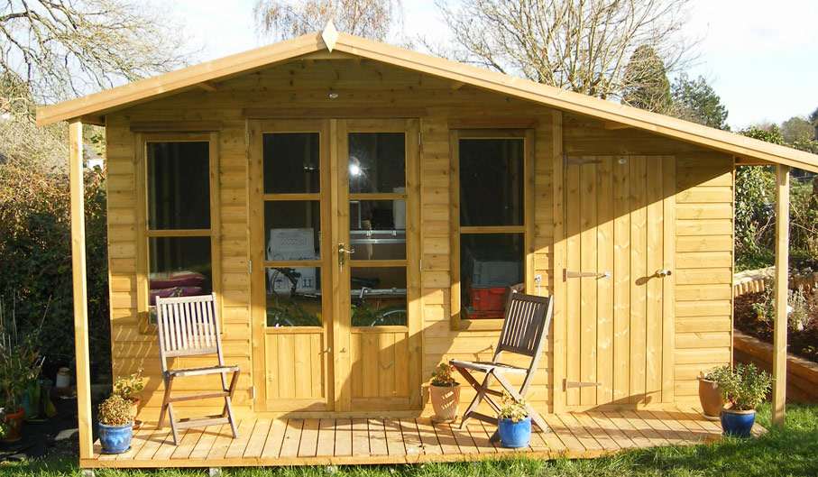Summerhouses home offices chalets townsend timber for Garden office with side shed