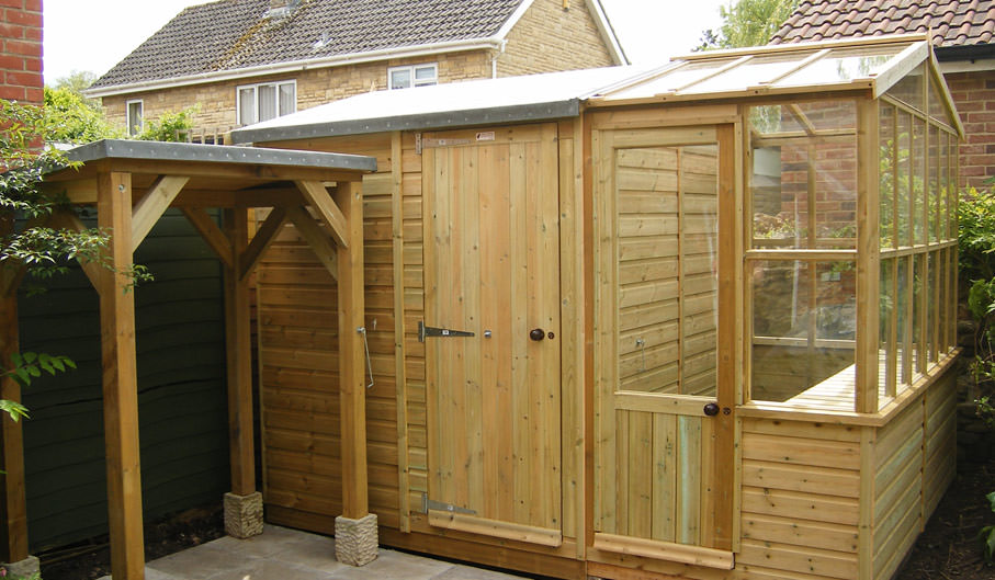 superior vale apex workshop with bespoke greenhouse extension